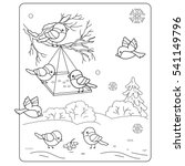 Coloring Page Outline Cartoon Birds Winter Stock Vector Royalty Free 541149796
