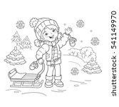 Coloring Page Outline Of cartoon girl with sled. Winter. Coloring book for kids