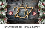 2017 new year  frame with green ... | Shutterstock . vector #541152994