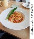 prawn spaghetti with sour and... | Shutterstock . vector #541159978