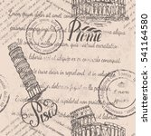 faded text  stamps  coliseum ... | Shutterstock .eps vector #541164580