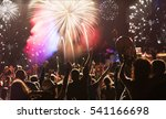 cheering crowd and fireworks   ... | Shutterstock . vector #541166698