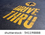 yellow drive thru sign on black ... | Shutterstock . vector #541198888