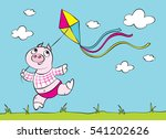 the baby pig ran across the... | Shutterstock .eps vector #541202626