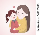 mother hugging with her... | Shutterstock .eps vector #541223893