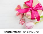 Pink Tulip And Gift Box With...