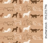 Stock vector animal seamless vector pattern of cat and dog silhouettes 541251796