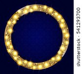 round gold frame with lights on ... | Shutterstock .eps vector #541293700