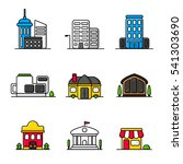 town buildings and houses icons....   Shutterstock .eps vector #541303690