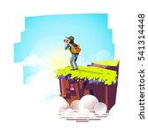 explorer man with binocular on... | Shutterstock .eps vector #541314448