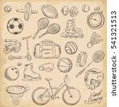 sport sketch equipment. drawing ...   Shutterstock .eps vector #541321513