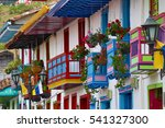 Small photo of colorful colonial style balconies in Salento Colombia