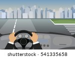 hands on the wheel of a car | Shutterstock .eps vector #541335658