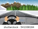 hands on the wheel of a car | Shutterstock .eps vector #541338184