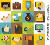 marketing items icons set. flat ... | Shutterstock .eps vector #541338538