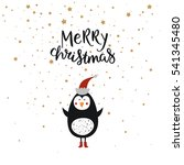 merry christmas card with cute... | Shutterstock .eps vector #541345480