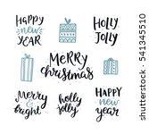 set of hand drawn merry... | Shutterstock .eps vector #541345510