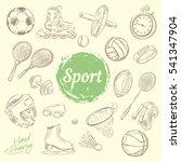 sport equipment. drawing doodle ... | Shutterstock .eps vector #541347904