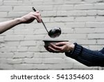 homeless. in the hands of one... | Shutterstock . vector #541354603