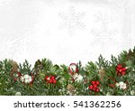 christmas border with branches  ... | Shutterstock . vector #541362256
