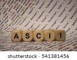 Small photo of ascii - cube with letters and words from the computer, software, internet categories, wooden cubes