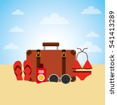 travel holidays flat line icons ... | Shutterstock .eps vector #541413289