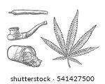 marijuana leaf  jar  cigarettes ... | Shutterstock .eps vector #541427500