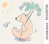 cute bear in swing cartoon hand ... | Shutterstock .eps vector #541434700