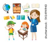set of school objects and... | Shutterstock .eps vector #541494940