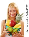 Beautiful young woman holding fruits isolated on white - stock photo