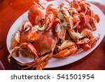 Steamed Crabs On A Plate On Th...
