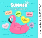 flamingo pool float with pool... | Shutterstock .eps vector #541507360