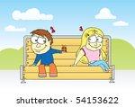 boy and girl in love cartoon | Shutterstock .eps vector #54153622