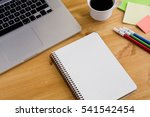note book on the wooden... | Shutterstock . vector #541542454
