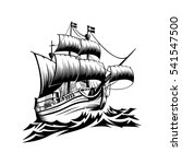 Pirate Ship   Hand Drawn Vecto...