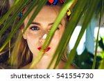 close up of beautiful blonde... | Shutterstock . vector #541554730