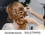 hair stylist or florist makes... | Shutterstock . vector #541579990