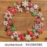 gingerbread cookies on wooden... | Shutterstock . vector #541584580