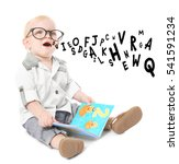 little boy in glasses with... | Shutterstock . vector #541591234