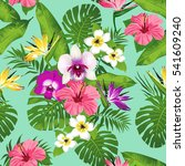 tropical flowers and leaves on... | Shutterstock . vector #541609240