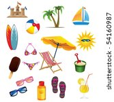 beach icon set | Shutterstock .eps vector #54160987