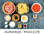 food ingredients for harissa... | Shutterstock . vector #541611178