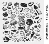 burger ingredients. hand drawn... | Shutterstock .eps vector #541645903