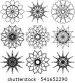 set of nine round symbols....