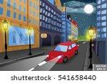 Night Cityscape. A Car. High...