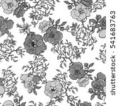 monochrome roses flower pattern ... | Shutterstock .eps vector #541683763