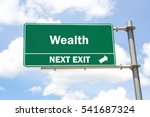 green overhead road sign with a ... | Shutterstock . vector #541687324