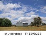 Steel Barn On A Farm With...