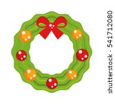 christmas wreath with red bow....   Shutterstock .eps vector #541712080