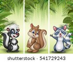 Stock vector set of three cartoon small animals 541729243